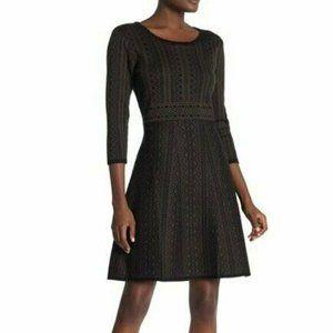 NEW Nina Leonard Geo Printed Knit Dress SMALL